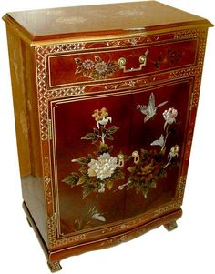 Chinese Cabinet With Painted Flowers and Birds Design