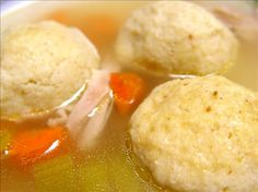 Although matzah ball soup can be eaten at any time of year (esp when sick with cold), it's traditional to have it at the beginning of your Pesach Seder!  Yum!