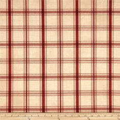 Waverly Pantry Plaid Crimson from @fabricdotcom  Screen printed on cotton duck; this versatile medium weight fabric is perfect for window accents (draperies, valances, curtains and swags), accent pillows, duvet covers and upholstery. Create handbags, tote bags, aprons and more. Colors include red and ivory.