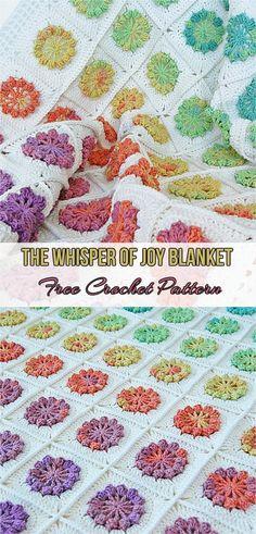 The Whisper of Joy Blanket Free Crochet Pattern #flowers #crochet #blanket