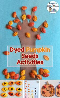 How to Dye Pumpkin Seeds & Dyed Pumpkin Seeds Activities - Lessons for Little Ones by Tina O'Block Pumpkin Seed Activities, Seed Activities For Kids, Pumpkin Seed Crafts, Art Activities, Educational Activities, Seed Crafts For Kids, Kid Crafts, Thanksgiving Crafts, Seeds