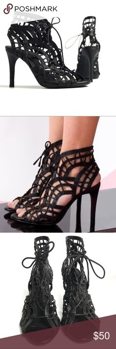 "Joie Leah Black Lattice Lace Up Heels Excellent used condition Joie high heels. Intricately woven black leather sandals lace up the front. Cage or lattice style is super sexy and flattering on your feet. 4"" heel. ** marked EU size 36. Listed as US 6 per Joie shoe size chart. Joie Shoes Heels"