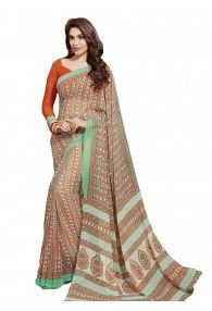Charming Rust Color Georgette Printed Saree By Vishal Prints