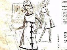 1960s Spadea Dress Pattern Designer ALAN GRAHAM Misses size 14 UNCUT Bell Skirt Dress with boat neckline