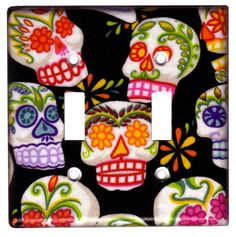 Sugar Skull Day of the Dead Double Switch Plate Cover by Sonia Apodaca-Harms for VistaLatina.com.