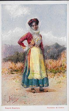 Paysanne De Corfou Greece Pretty Woman In Costume Postcard Greek Traditional Dress, Traditional Outfits, Greek Dress, Greek Culture, Renaissance Dresses, Folk Dance, Folk Costume, Greek Islands, Old Photos