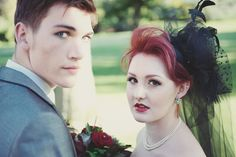 This groom in a styled shoot has a pretty natural guyliner look to match his rock bride. Photo by Rebecca Douglas