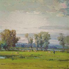 Eliseo Meifrén Roig. Paisaje. Óleo sobre lienzo.  Firmado. 70 x 70 cm. Exposición Valencia, p. 151.