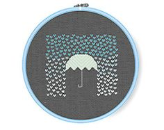 IT'S RAINING HEARTS Playful Modern Cross Stitch Pattern, Striped Umbrella - Instant Download