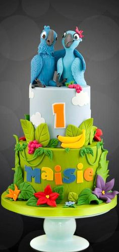 my first Rio cake :D I do love a new theme to work with :D x Rio Birthday Cake, Fondant Cakes, Cupcake Cakes, Rio Cake, Cake Pops, Bird Cakes, Character Cakes, Disney Cakes, Just Cakes