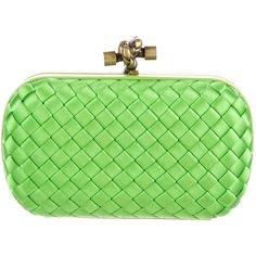 Pre-owned Bottega Veneta Intrecciato Satin Knot Clutch ($925) ❤ liked on Polyvore featuring bags, handbags, clutches, green, satin purse, green clutches, pre owned purses, bottega veneta handbags and green purses