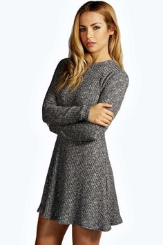 #FashionVault #boohoo #Sale #Women - Check this : boohoo Grace Rib Knit Turtle Swing Jumper Dress - charcoal for $28 USD instead of $16 #OnSale