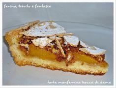 """La torta """"monferrina bocca di dama"""" ha origini piemontesi. E' un autentico mix di sapori (pesche, amaretti e nocciole tostate) che danno vita ad una torta dal gusto unico e delicato. Preparata con una base di frolla è semplice da realizzare e adatta per ogni occasione. Non si tratta di un dolce leggerissimo, ma tant'è… Ingredienti: Per la frolla: 320gr. di farina 00 170gr. di burro 150gr. di zucchero 1/2Continue reading... Sweet Cooking, Torte Cake, Italian Recipes, Sweet Recipes, Food And Drink, Sweets, Baking, Breakfast, Desserts"""