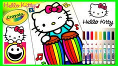 HELLO KITTY playing the CONGA DRUMS!| Crayola Coloring Pages| Crayola Co...