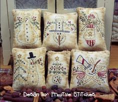 Snowman Mini Collection 1Primitive Stitchery  by PrimitiveStitches, $2.50