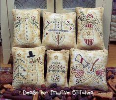 Snowman Mini Collection 1Primitive Stitchery  by PrimitiveStitches, $2.50