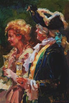"Evgeny Baranov and Lydia Velichko Baranov ~ Sister Coming of Age, The Venetian Series, oil on canvas, 36x24"". baranovs.com/"