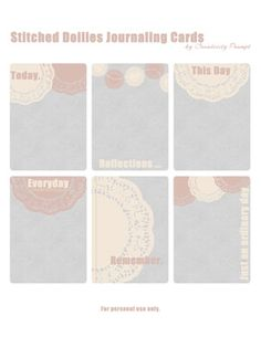 free stitched doilies journaling cards