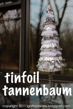 Silvery splendor of aluminum foil sets this 'cone tree' apart from the rest! Lots more foil projects at I Gotta Create!
