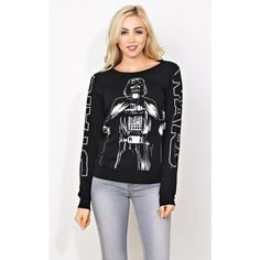 Star Wars Graphic Top ($25) ❤ liked on Polyvore featuring tops, black, long tops, black scoop neck top, raglan sleeve top, raglan top and scoopneck top