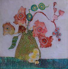 Peinture fleurs de médias mixtes sur papier Yupo avec aquarelle et acrylique