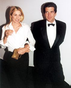 It's clear that Carolyn Bessette-Kennedy and husband John F. Kennedy Jr. coordinated their black-tie looks for the night. Though, she spun her whites into an elegant ensemble by pairing it with a black floor-grazing ball skirt.