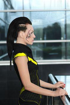 Futuristic fashion, cyberpunk dress, little black dress, futuristic make up and hair