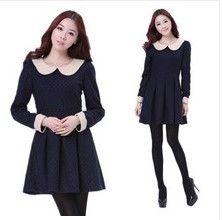 Autumn & winter Japanese women long-sleeve  woolen sweet polka dot slim basic one-piece dresses WYL5161