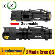 Mini Black CREE 2000LM Waterproof LED Flashlight 3 Modes Zoomable LED Torch Penlight