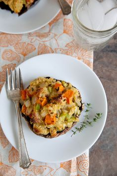 Portabellos with Herbed Stuffing and Sweet Potatoes | Annie's Eats - A meatless option for Thanksgiving.