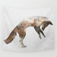Jumping Fox Wall Tapestry
