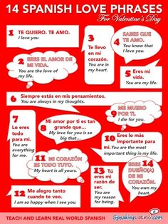 An infographic that features 14 Spanish love phrases with English translations. Express your love on Valentine's Day! #learnspanish #learnspanishtips