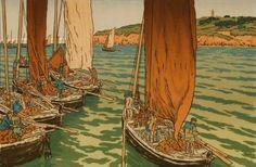 Henri RIVIERE DEPART DES BATEAUX A TREBOUL - 1898 Planche 1 de l