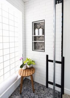 Bathroom of the Week: Curbless Shower and an Aqua Vanity My Doll House, Ladder Decor, Aqua, Vanity, Shower, Bathroom, Home Decor, Space, Dressing Tables