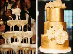 Champagne Tower and Gold Wedding Cake   Old Hollywood Style Wedding   Milly & Grace Girls