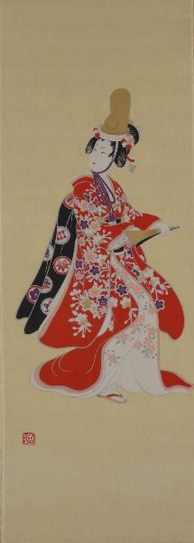 """Kabuki Dancer"" Tenugui were originally meant to be hand towels or headbands, but these comtemporary versions are more often used as decor items - sometimes framed and hung or displayed as table or shelf"