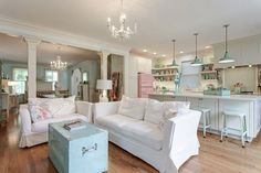 Porcelain Enamel Pendants for a confectionary inspired kitchen | #pastel #interior #white
