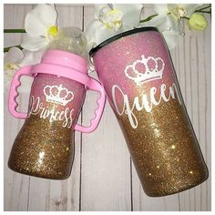 Beautiful mommy and me Queen Princess matching set. The cups may be customized in any color and any design. The glitter is completely sealed with FDA compliant sealer and will not shed or peel. This set includes a one Stainless Steel Tumbler and one S Tumbler Designs, Baby Blog, Everything Baby, Baby Bottles, My Baby Girl, Baby Accessories, Mommy And Me, Kind Mode, Future Baby
