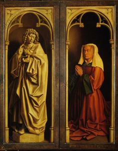 Boorluut, Elisabeth (Isabella), married (Jodocus) Vijd. from a well-regarded Ghent patrician family; died 1443. – Donor portrait.  (l.: John th. Evang.) Ghent Altarpiece (outside, bottom right) completed 1432, by Jan van Eyck (c. 1390–1441); on wood. Ghent, S.Bavo.