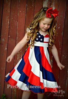 Peppermint Swirl Dress - Pageant Dress - 4th of July Dress