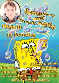 SALE 50 Spongebob Birthday Invitation  Printable by vitalydi, $5.00