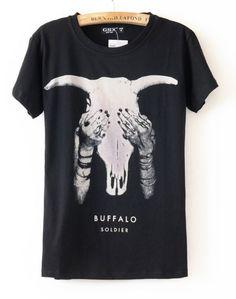 Horn Manpower Round Neck Cotton Black T-shirt