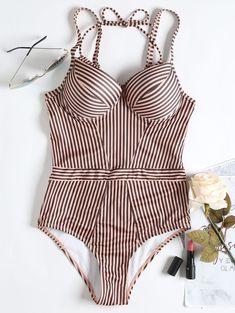 9e7fd9837905c Striped Underwire One Piece Swimsuit - PINK S Women's One Piece Swimsuits,  Cheap Swimsuits,