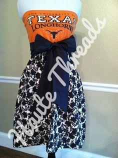 6386fd2c3e UT Texas Longhorns HORNS Football Bling College Gameday Burnt Orange Tube  Strapless T-Shirt Dress with Black Bow Sash - Small