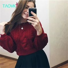 Fair price TAOVK 2016 new fashion Russian style Women Autumn sweater 6 colors short paragraph lantern twist sleeves knitted sweater just only $19.71 with free shipping worldwide  #womansweaters Plese click on picture to see our special price for you