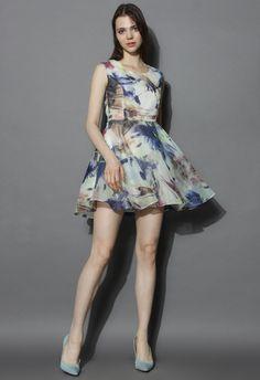 Watercolor Flower Illusion Organza Dress - New Arrivals - Retro, Indie and Unique Fashion