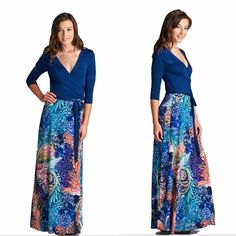 Maxi Dress  S M L Beautiful wrap maxi dress with a mixed print, 3/4 sleeves and belt tie at the waist. This dress is a great transitional piece take can be worn in the fall, winter, spring, or summer.  Dress is available in Small, Medium and Large.   Please do not purchase this listing. Tag me with your size and I will create a separate listing for you to purchase. Thanks Dresses Maxi