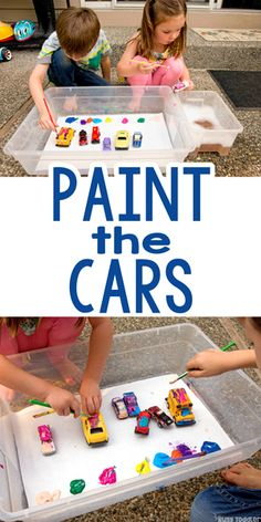 Paint the Cars: A Quick & Easy Art Activity - Busy Toddler Art Activities For Toddlers, Painting Activities, Motor Activities, Preschool Activities, Art For Toddlers, Family Activities, Toddler Play, Toddler Preschool, Toddler Crafts