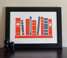 Books on a Shelf - Red & Gray by theemvee on Etsy, $18.00