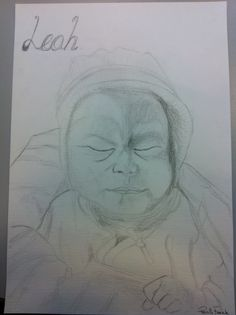 blyantstegning af nyfødt